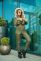 Комбинезон зимний женский с рукавичками из водоотталкивающей плащёвки Монклер (5 цветов) -Оливковый DD/-9300