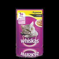 Вологий корм для кішок WHISKAS (Віскас ) з куркою в соусі 100 гр, пауч.