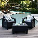 Комплект садових меблів зі штучного ротангу CORFU Set Triple Max графіт ( Keter ), фото 8