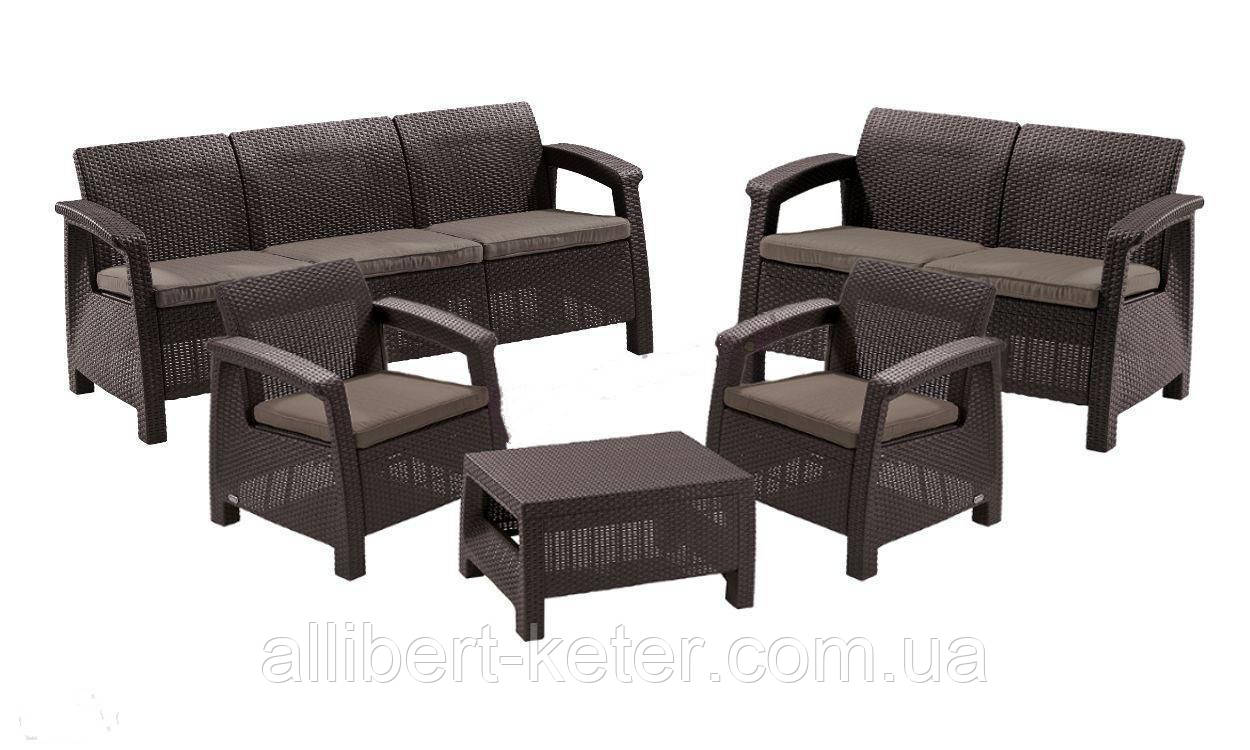 Комплект садових меблів зі штучного ротангу CORFU Set Triple Max темно-коричневий (Keter)