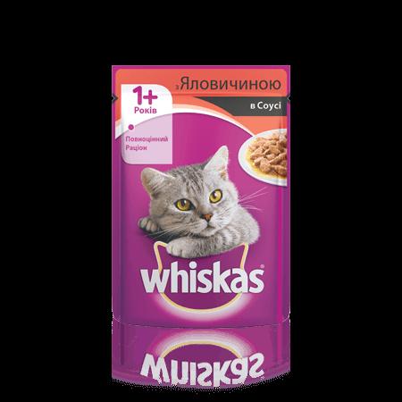 Влажный корм для кошек WHISKAS (Вискас ) с говядиной в соусе, 100 гр, пауч.