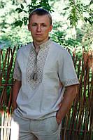 Мужская вышитая рубашка из натурального льна с коротким рукавом, фото 1