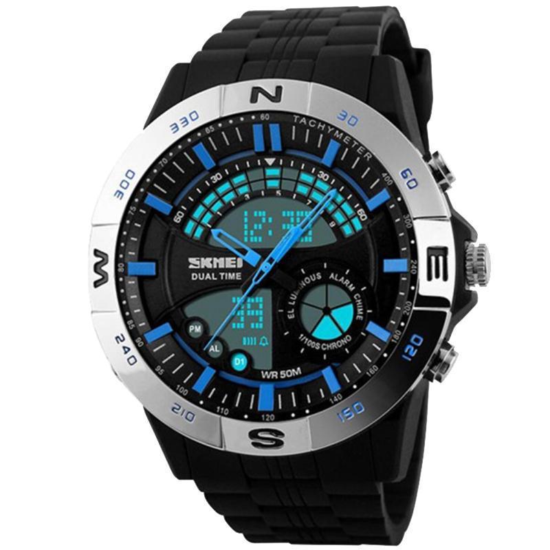 Часы Skmei Мод.1110, черный-стальной-синий, в металлическом боксе