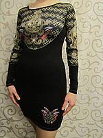 Трикотажное платье с оригинальным принтом и стразами, 44-46р., фото 1