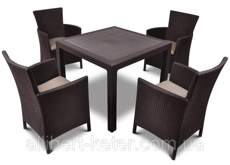 Комплект садових меблів зі штучного ротангу Melody Quartet 4Y PALERMO Iowa/Melody (4) темно-коричневий (Keter)