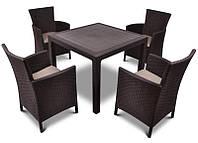 Комплект садових меблів зі штучного ротангу Melody Quartet 4Y PALERMO Iowa/Melody (4) темно-коричневий (Keter), фото 1