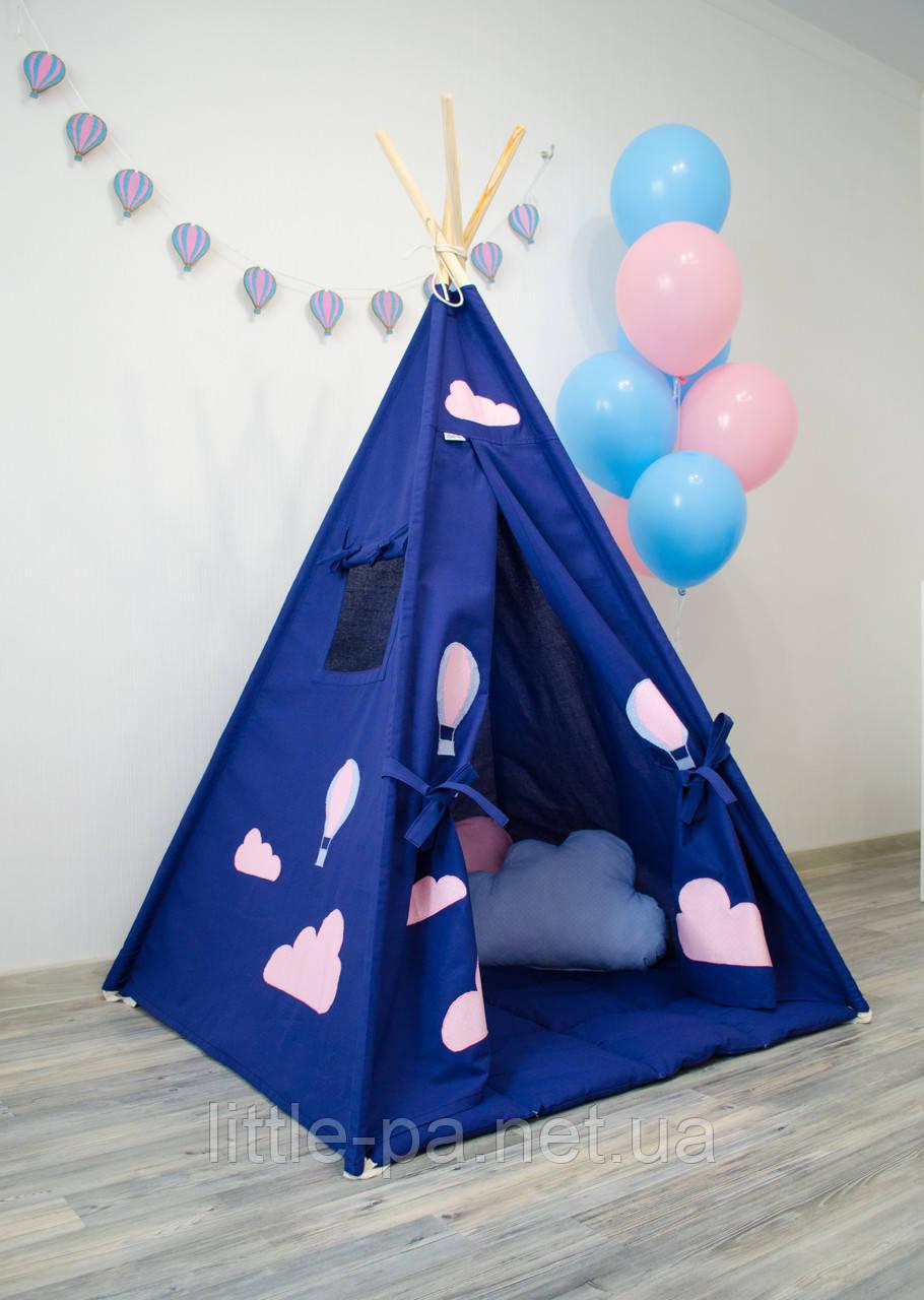 """Вигвам детский для игр """"Шары"""" с матрасом и подушками"""