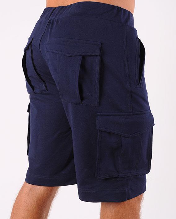 Шорты мужские трикотажные темно синие с карманами размеры 48-54
