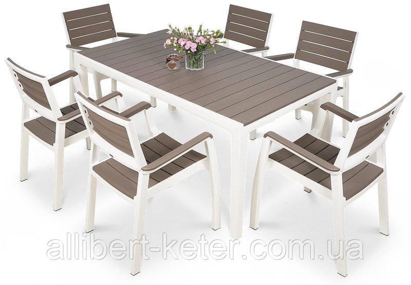 Комплект садових меблів зі штучного ротангу FLORENCE 6+1 капучіно ( Keter )