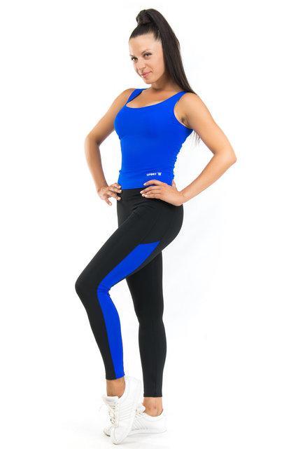 Комплект майка и лосины для спорта (42-44; 44-46; 46-48) (синий) одежда для йоги и фитнеса из бифлекса