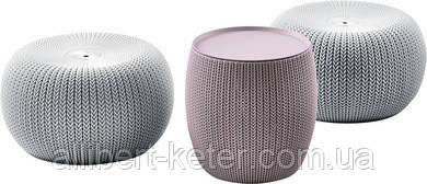Набір столик і два пуфа KNIT COZIES TABLE фіолетовий-сірий