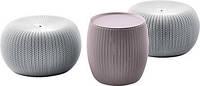 Набір столик і два пуфа KNIT COZIES TABLE фіолетовий-сірий, фото 1