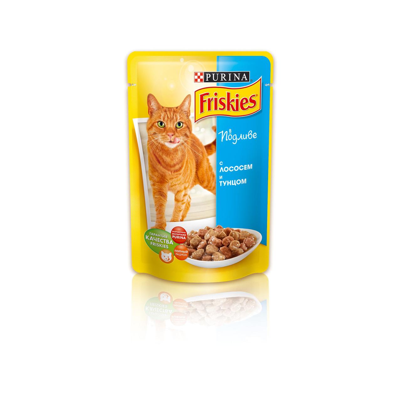 """Вологий корм для котів Friskies ( Фрискис) """"Лососем і тунцем"""" 100 гр, пауч."""