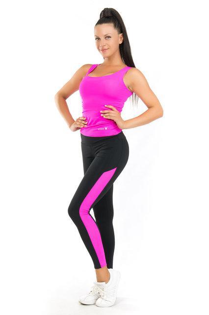 Комплект майка и лосины для спорта (42-44; 44-46; 46-48) (розовый) одежда для йоги и фитнеса из бифлекса