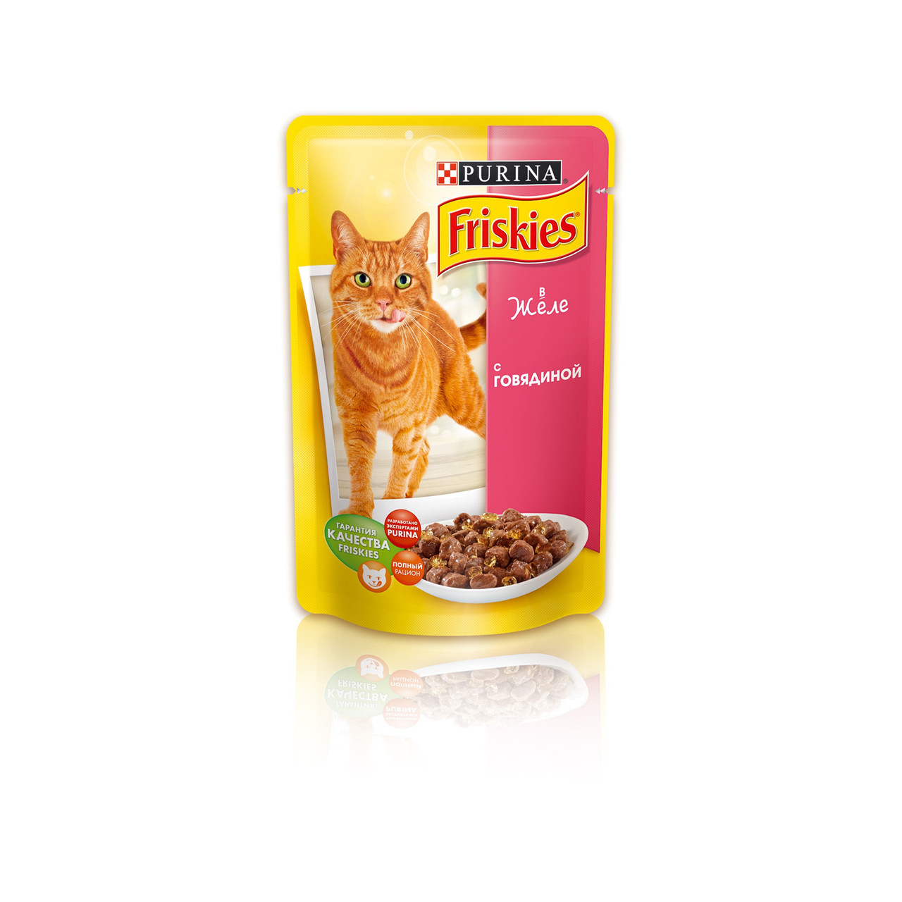 """Вологий корм для котів Friskies ( Фрискис) """"Желе з яловичиною"""", пауч 100 гр."""