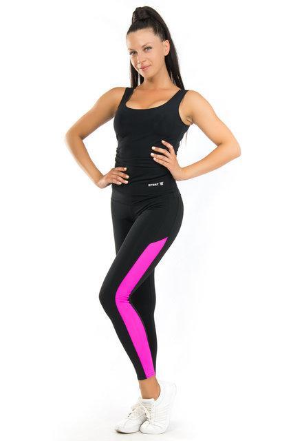 Комплект майка и лосины для спорта (42,44,46,48,50,52,54) (розовый) одежда для йоги и фитнеса из бифлекса