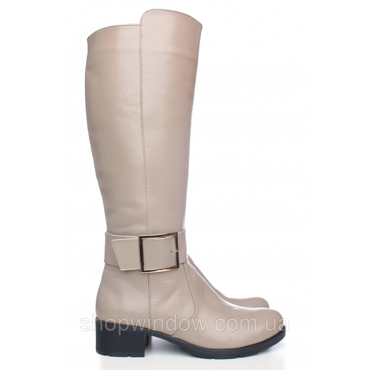 Бежевые демисезонные сапоги. Элегантные женские кожаные сапоги. Лучший  выбор! Стильные сапоги! - 427a78c62b1
