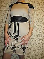 Трикотажное молодежное платье с черным поясом, 42,44,46рр