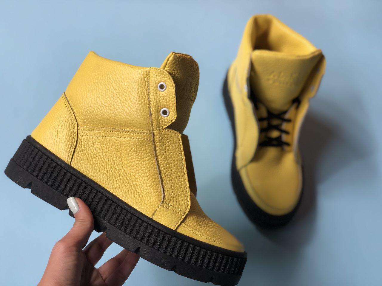 №566-6 Ботинки из натуральной желтой кожи флотар