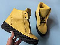 №566-6 Ботинки из натуральной желтой кожи флотар, фото 1