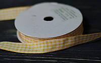 Лента тканная в клетку желто-оранжевая 1,2 см *90 см, фото 1