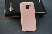 Чехол бампер силиконовый Samsung Galaxy J6 2018 SM J600 ( Самсунг ) цвет розовый Soft-touch