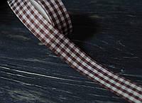 Лента декоративная тканная в клетку коричневая 2,3 см, фото 1