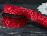 Лента декоративная 4 см красная  ЖАТАЯ \проволочный край двусторонняя, фото 1