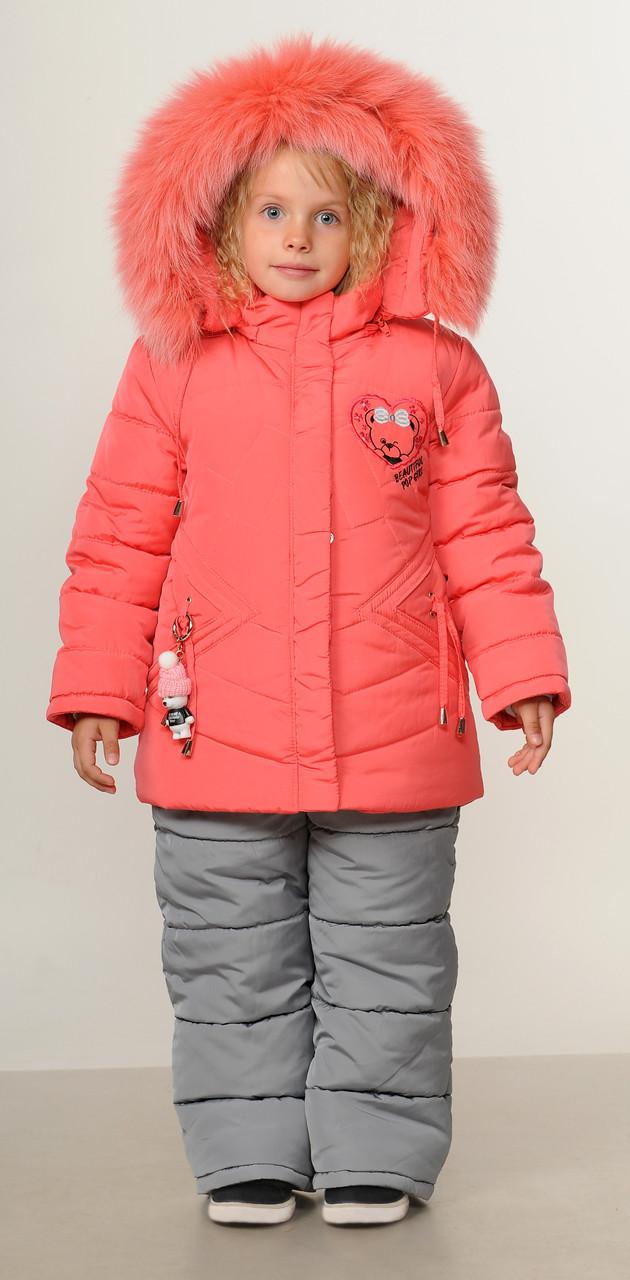 Детский зимний комбинезон для девочки  3 лет 22-28 коралл
