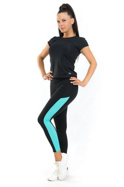 Спортивный костюм футболка и леггинсы (42,44,46,48,50,52,54) женская одежда для йоги и фитнеса БАТАЛ (бифлекс)