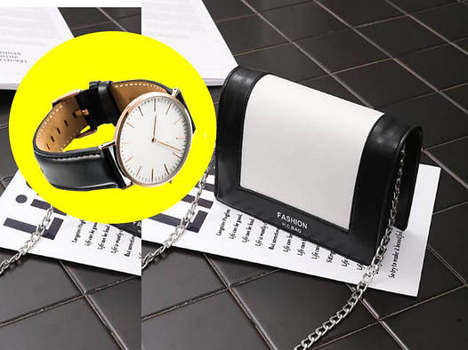 Женская сумка клатч Chanel Style+ часы в Подарок