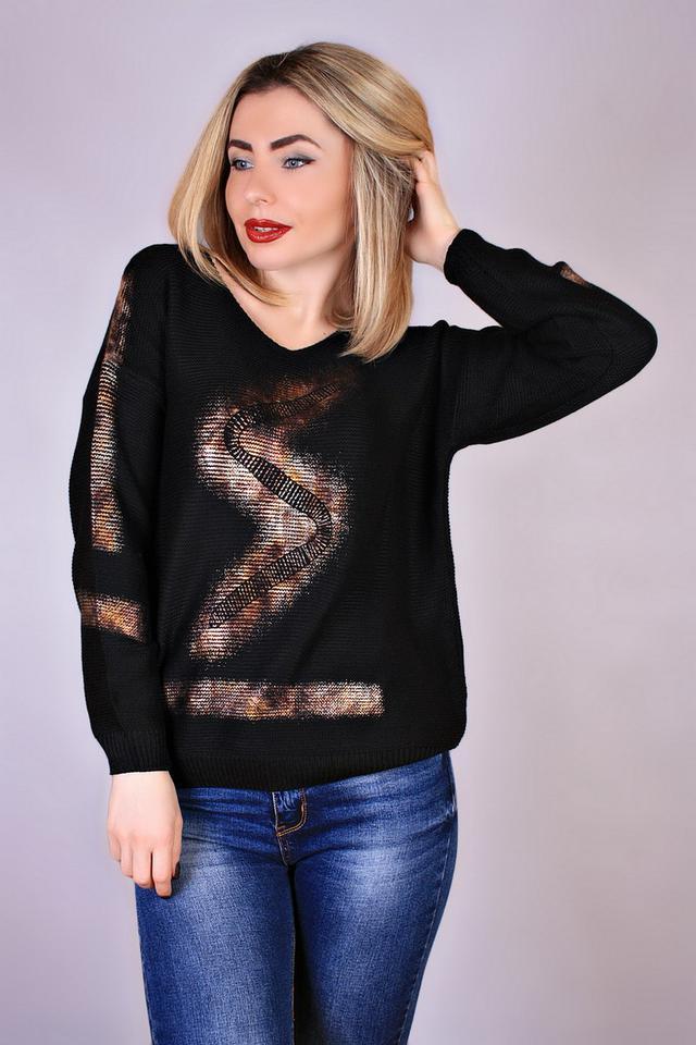 Свободный вязаный свитер с принтом купить в интернет магазине