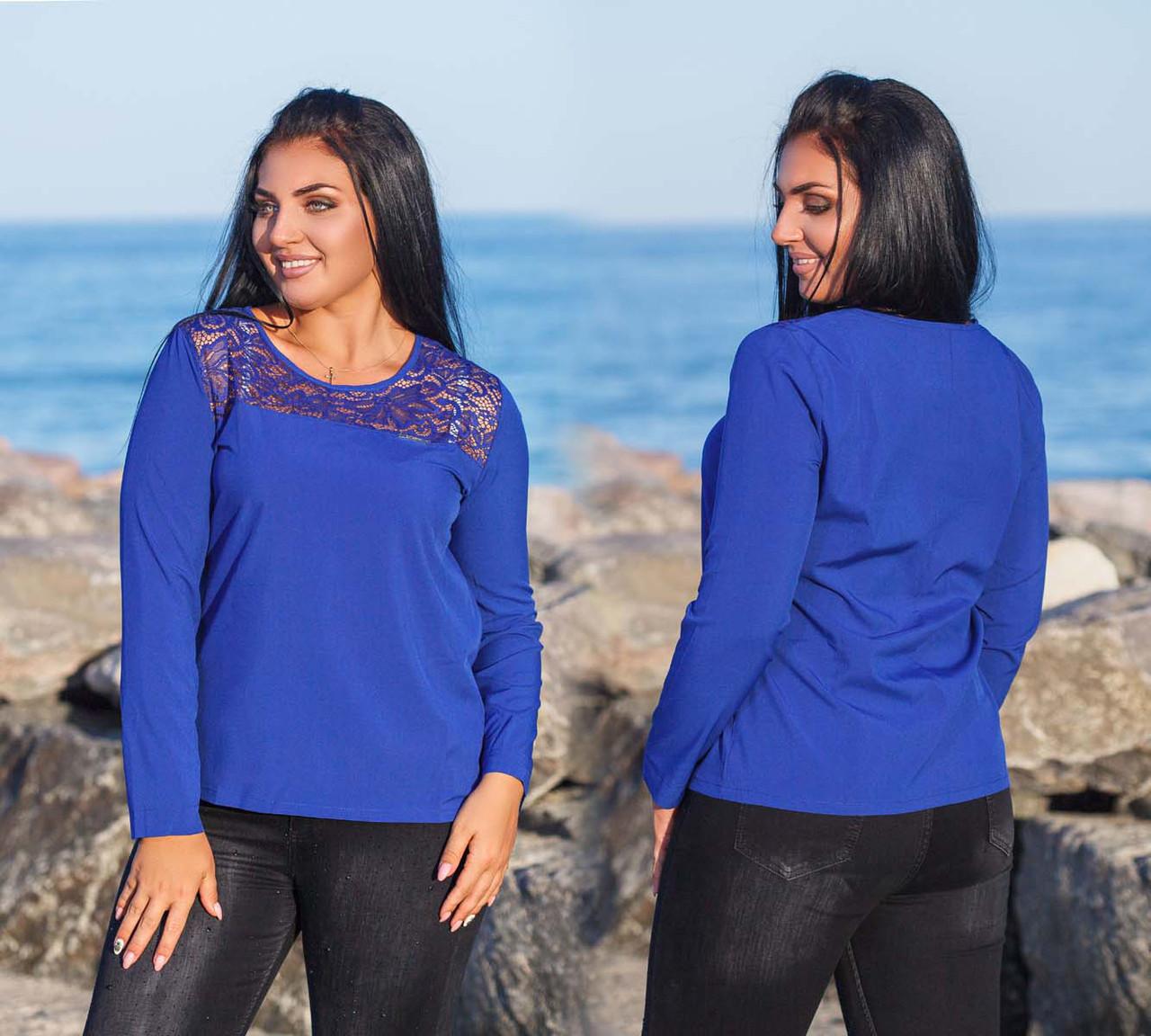 """Элегантная женская блузка до больших размеров 4156 """"Софт Кокетка Гипюр"""" в расцветках"""