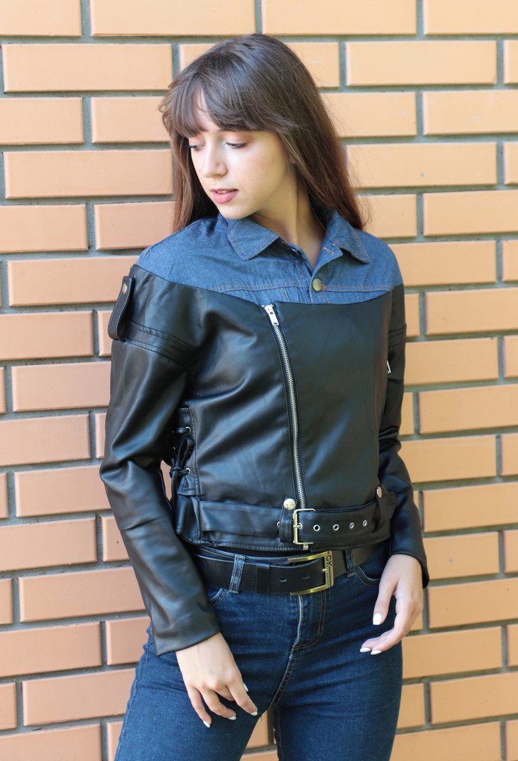 Женская комбинированная куртка-косуха. БР-2-0818