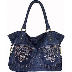 Сумка женская №8248-1R с карманами джинс Синий
