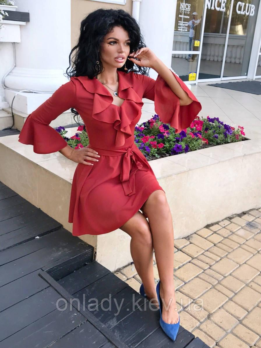 96b7bff486332b1 Короткое платье с воланами на рукавах (M/L), цена 757 грн., купить в ...