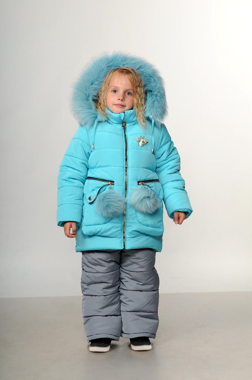 Детский зимний костюм комбинезон для девочки на меху   22-28