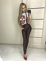 Женские кожаные лосины на подтяжках, фото 1