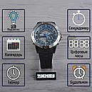 Часы Skmei Мод.1110, черный-стальной-синий, в металлическом боксе, фото 2