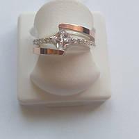 Кольцо Милана серебряное с золотом и цирконами, фото 1