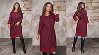 Женское кашемировое пальто с отделкой из кружева (рр.42-44, 44-46,48-50, 52-54, 56-58), фото 1