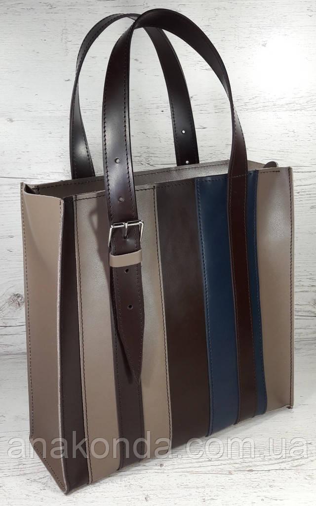 423-к Натуральная кожа,Сумка-пакет на молнии, комбинированный кофейный (песочный, тауп), коричневый, синий
