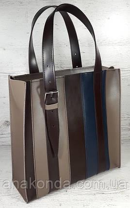 423-к Натуральная кожа,Сумка-пакет на молнии, комбинированный кофейный (песочный, тауп), коричневый, синий, фото 2