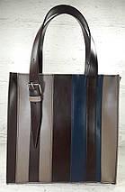 423-к Натуральная кожа,Сумка-пакет на молнии, комбинированный кофейный (песочный, тауп), коричневый, синий, фото 3