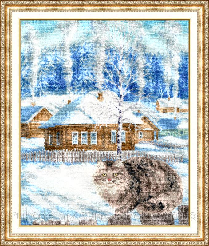 """Набор для вышивания крестом ТМ Золотое Руно """"Была зима. Моя деревня """" МД-011"""