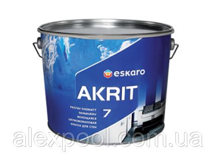 Eskaro Akrit 7 9,5 л - Моющаяся шелково-матовая краска для стен Белая - Шёлковоматовая акрилатная краска