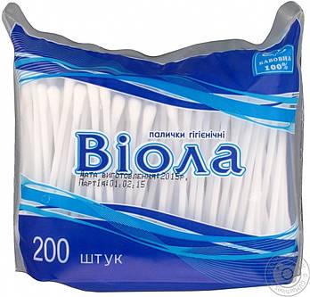 """Ватні палички гігієнічні 200шт """"Віола"""" поліетилен"""
