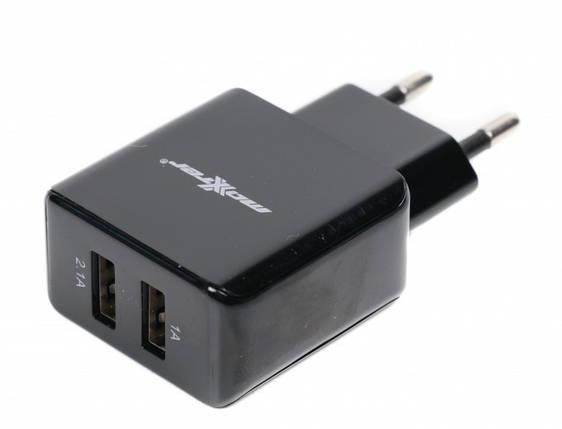 Зарядное устройство Maxxter UC-23A, 2 USB, 5V/2.1A, зарядка для смартфона, телефона, фото 2