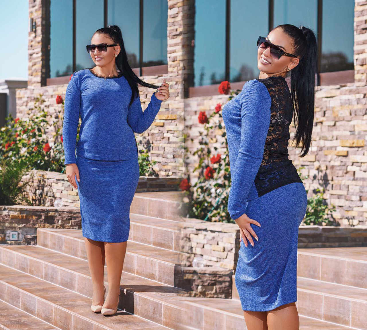 """Женский стильный костюм с юбкой до больших размеров """"Ангора Спина Кружево"""" в расцветках"""