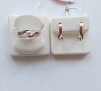 Комплект Полюшка из серебра и золота с белым камнем
